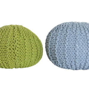 pouf footstool knit lime green blue Ibiza