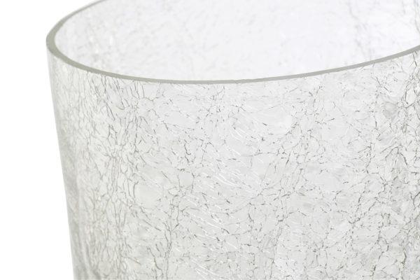 Crackle glass and mango wood candle holder Ibiza